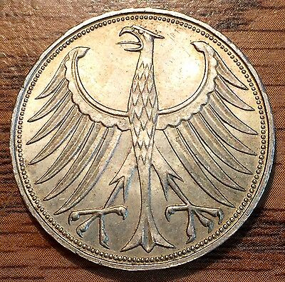 1960 J Silver Germany 5 Mark Eagle Coin - Uncirculated+