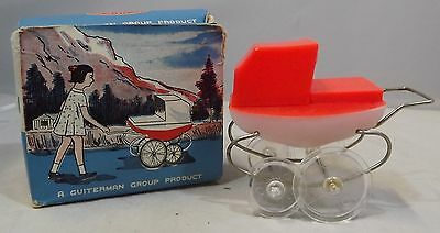 VINTAGE 1960s BOXED GUITERMAN PLASTIC MINI DOLLY PRAM WITH BABY INSIDE
