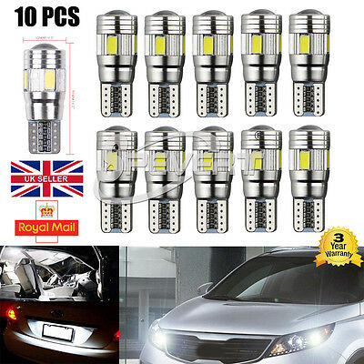10x BRIGHTEST T10 CAR BULBS LED ERROR FREE CANBUS 6 SMD WHITE W5W 501 SIDE LIGHT