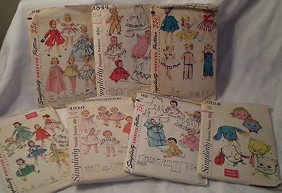 Vintage Doll Dress Patterns 1960's 7 Patterns 13 to 25 inches