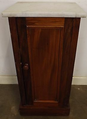 Antique Victorian Mahogany Marble-Topped Beside Cabinet Pot Cupboard