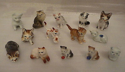 Collection of 14 Small China Cat Figurines
