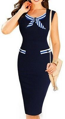 Awesome Bowknot Patchwork Striped Bodycon-Dress Size M / 12