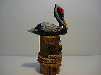 Pelican Wooden Handpainted on Wooden Piling