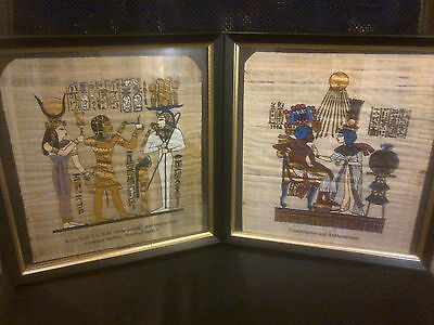 2 Old Framed Papyrus Pictures
