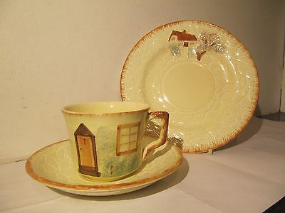 Keele Pottery Cottage Ware Cup & Saucer Trio