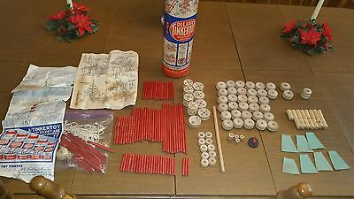 Vintage 1953 Deluxe Red Stick Windlass TINKER TOY SET 177 Pieces & Instructions