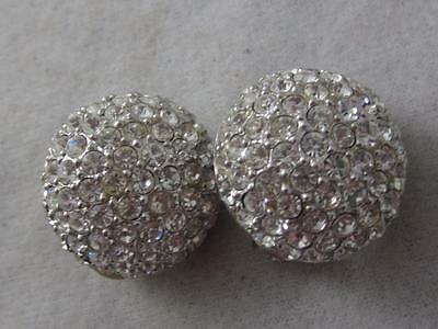 Vintage  Christain Dior White Crystal Rhinestone Domed Round Clip Earring