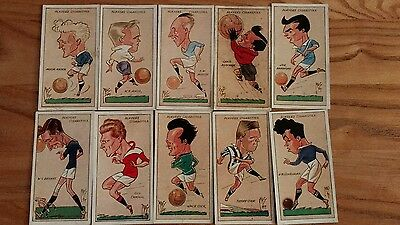 full set of players football caricatures by mac cigarette cards