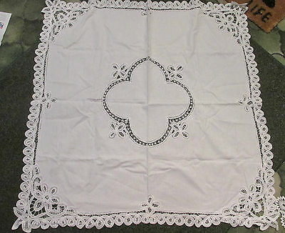 PRETTY TEA/TABLECLOTH~ White with Vintage Style Tape Lace Decoration