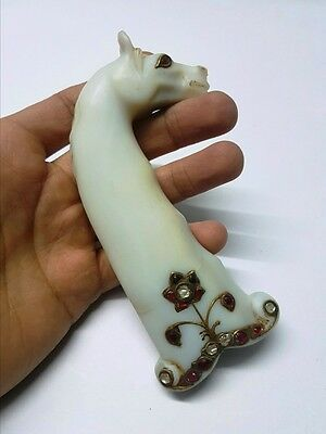 Fine Mughal Style White Jade Gem Stone Studded Inlay Horse Carved Hilt Handle