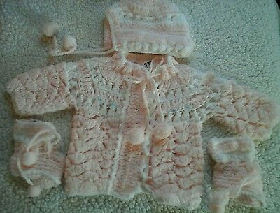 Vintage Hand Crocheted Pink Baby Sweater & Bonnet Booties  Infant Layette