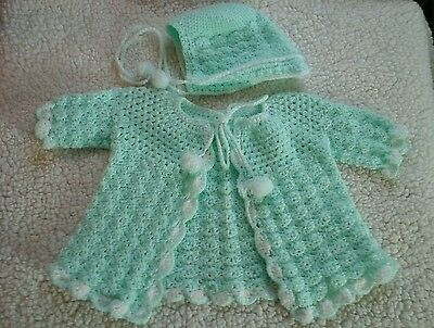 Vintage Hand Crocheted Green Baby Sweater & Bonnet  Infant Layette