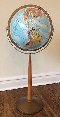 "Vintage Globe Replogle 12"" World Nation Series Floor Standing 33"" H Wood Metal"