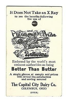 Old Advertising Premium Card Capital City Dairy Co Columbus OH Butterine Xray