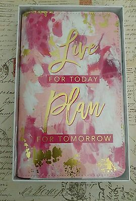 NEW Recollections 6 Ring Gold Zippered Agenda 2017 Planner -  Pink Live Plan