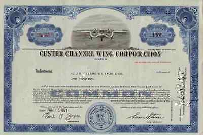 CUSTER Channel Wing Maryland Reading 1970er CCW-5 TOP Airplane Historic Shares