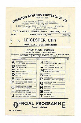 1948/49 Football Combination - CHARLTON ATHLETIC v. LEICESTER CITY