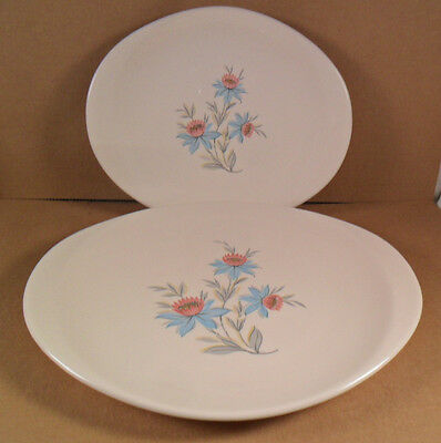 "2 Steubenville FAIRLANE Oval Serving Platters Pink & Blue  Flowers  14"" and 11"""