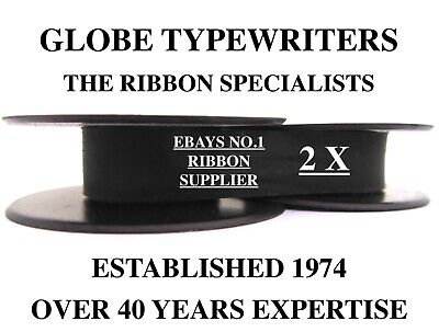 2 x 'OLIVETTI ROMA' *BLACK* TOP QUALITY *10 METRE* TYPEWRITER RIBBONS + EYELETS