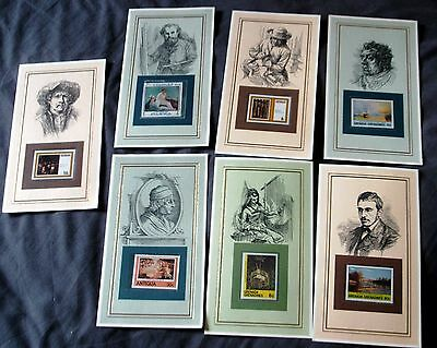7 Unmounted Mint Stamps On Cards Relating To Artists, Manet, Turner, Rembrandt +