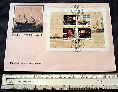 1985 Australia Over-Sized Illustrated First Day Cover Terra Australis Mini Sheet