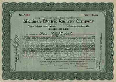 Michigan Electric Railway Co. Jackson City SPECIAL 1923 Historische Wertpapiere