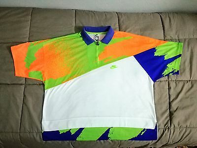 Nike Challenge Court maglia Agassi vintage Polo Shirt jersey tg.L