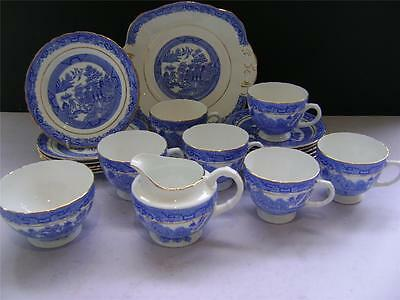 """Pretty 21 Piece Tea Set in """"Willow"""" Design by Sutherland China."""