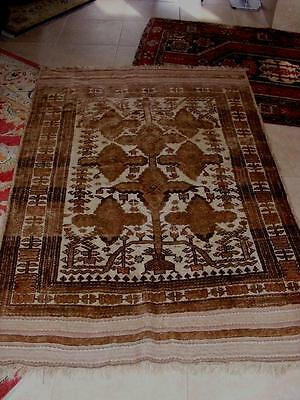"""XLNT Large Persian Hand Woven  KILIM Wool RUG L BROWNS Tans & Pink 80"""" x 53"""" NR"""
