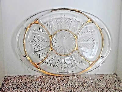 Vintage Jeanette Glassware Oval Relish Tray, 5 Comp., Gold Trim, Feather Pattern