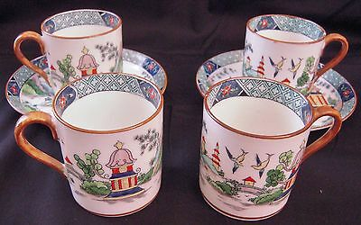 Crown Staffordshire YE OLDE WILLOW 4 Demi Cups, 2 Saucers; Bailey Banks & Biddle