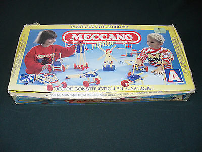 Vintage Meccano Junior Plastic Construction Set A With Instructions- Boxed