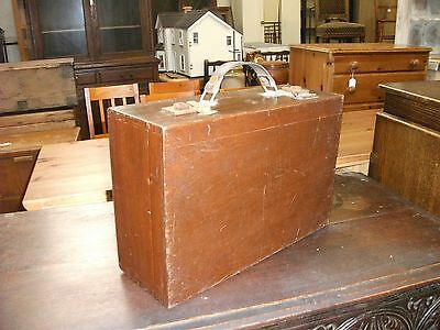 Small Vintage Wooden Suitcase Style Storage Box Craft Hobby Tool Chest Toy Trunk