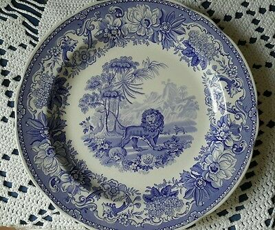 Spode collectors plate blue and white lion England Aesop's fables
