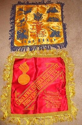 2 Vintage Military Silk Pillow Covers Cases  WW II  ??