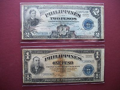 Philippines One Peso and Two Peso Victory Series No 66 Notes VF+