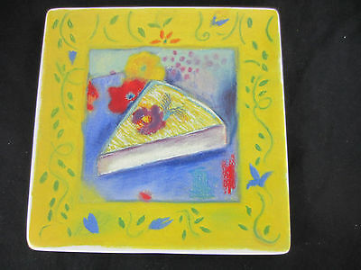"""Certified International Linda Montgomery """"Provence"""" square cheese plate brie"""