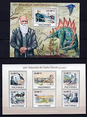 Mozambique 2009 - Charles Darwin 200 - Theory Of Evolution M/s + S/s Mnh** D
