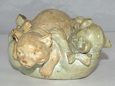 Unknown Fine Antique Pottery Sculpture Group Two Fighting Cats Kittens 6446 22