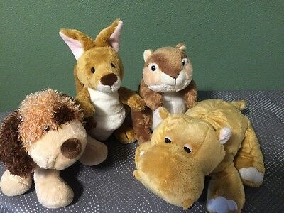 GANZ Webkinz signature plush lot of 4 Mud Hippo, Kangaroo, Chipmunk, Do no codes