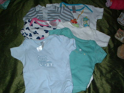 6 ASSORTED BABY VESTS- 0-3mths/3 to 6mths -hardly used!