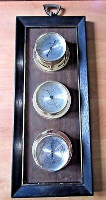 Vintage Springfield  Wall Brown Weather Station Barometer Thermometer
