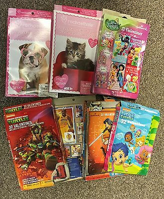 Valentines Card and Stickers Lot of 7 boxes of 32 ea. 224 Total