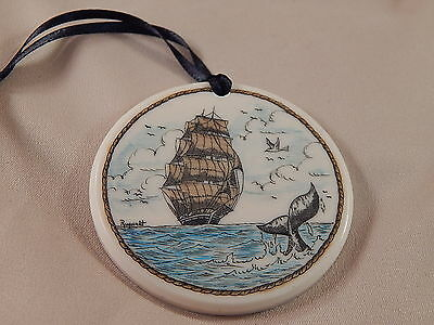 Scrimshaw Resin Christmas Ornament Colored Ship - Whale Tail