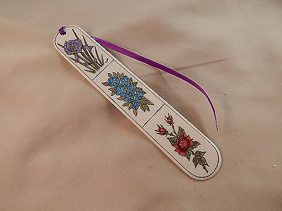 Scrimshaw Resin Book Mark Colored Flowers - Iris - Red Rose -Forget Me Nots