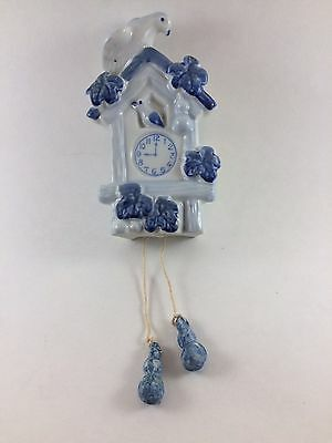 Vtg Wall Pocket Coo Coo Clock Blue And White Japan (F)