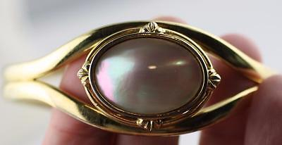 Vintage gold tone mother of pearl oval double band cuff style bracelet  flared