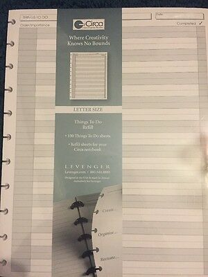 """Levenger /""""Things To Do"""" Refill For Circa Notebook"""