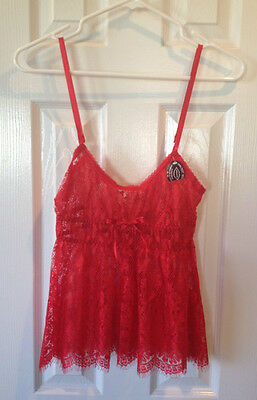 """Pretty Red """"The Escante Collection"""" Lingerie Set Cami/Tank/Babydoll G-string New"""